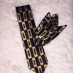 Black, Brown & Blue Tie & Hanky Set